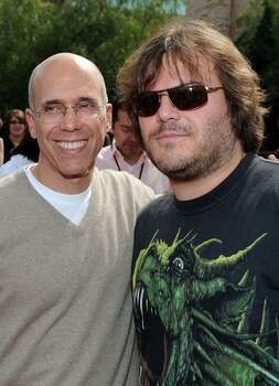 "Dreamworks Animation CEO Jeffrey Katzenberg and actor Jack Black arrive at the premiere of Dreamworks Animation's ""How To Train Your Dragon"" at Gibson Amphitheatre in Universal City, California. Photo: Getty Images"