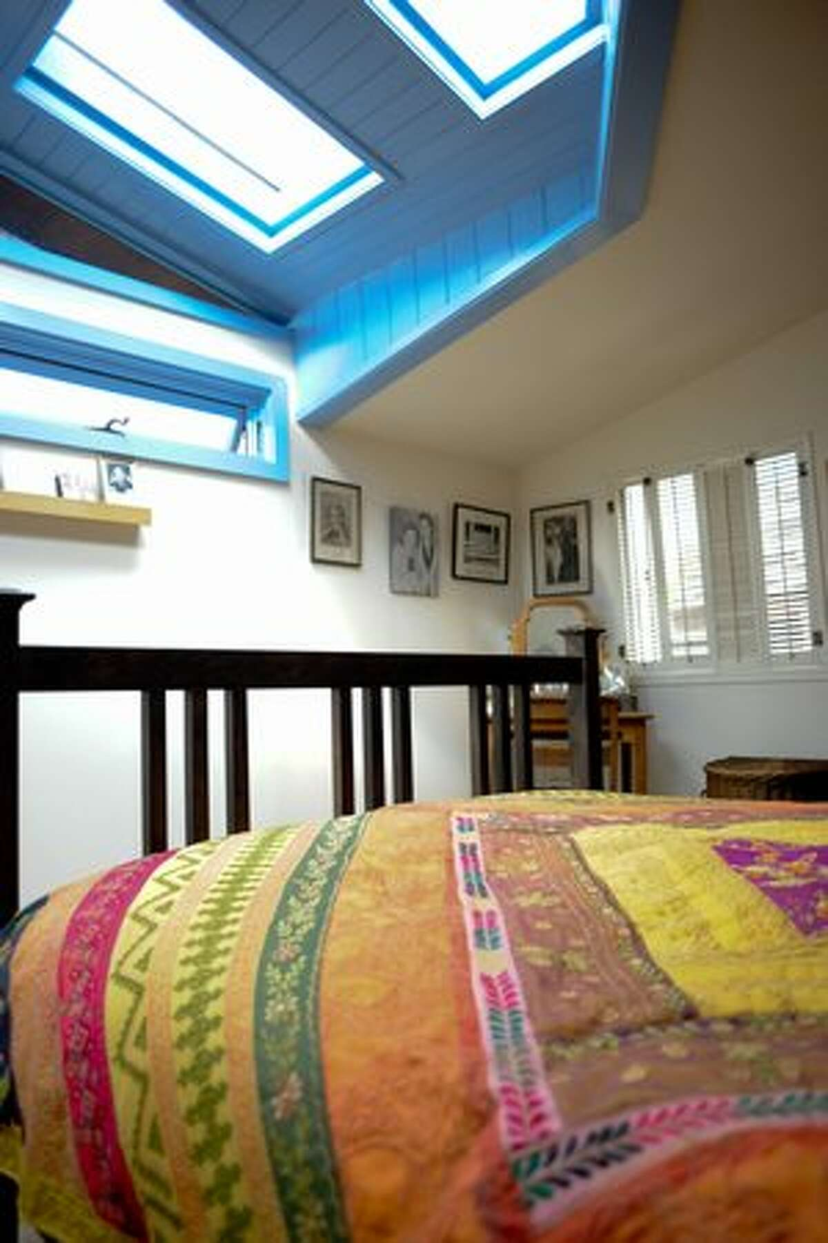 Elizabeth and Alan Shaw's bedroom at the 2010 Floating Homes Tour in Seattle.