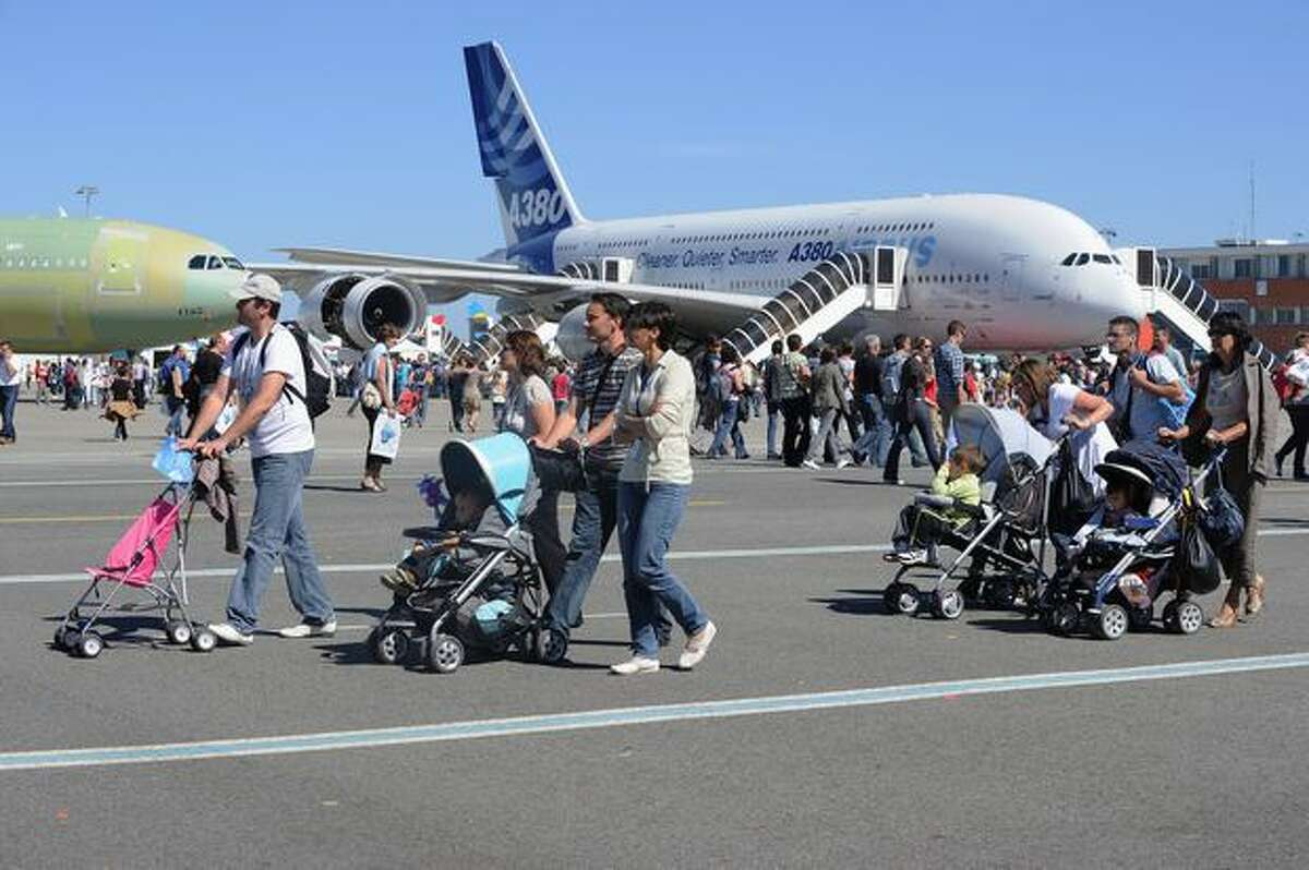 Airbus employees, relatives and friends attend a Family Day at the company's plant in Toulouse, France.