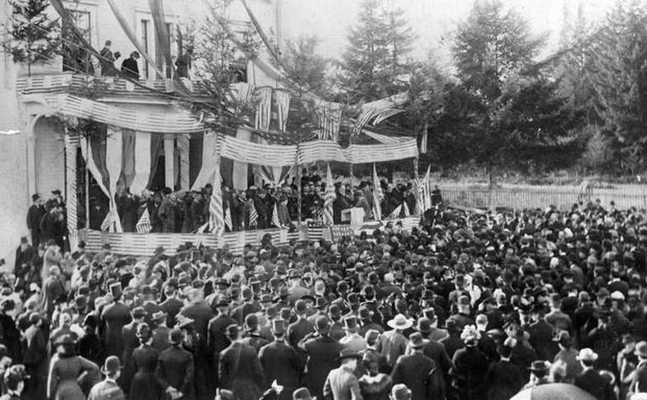 Seattle funeral excercises for President James A. Garfield at First Avenue and Yesler Way, October 1881. Photo: P-I File