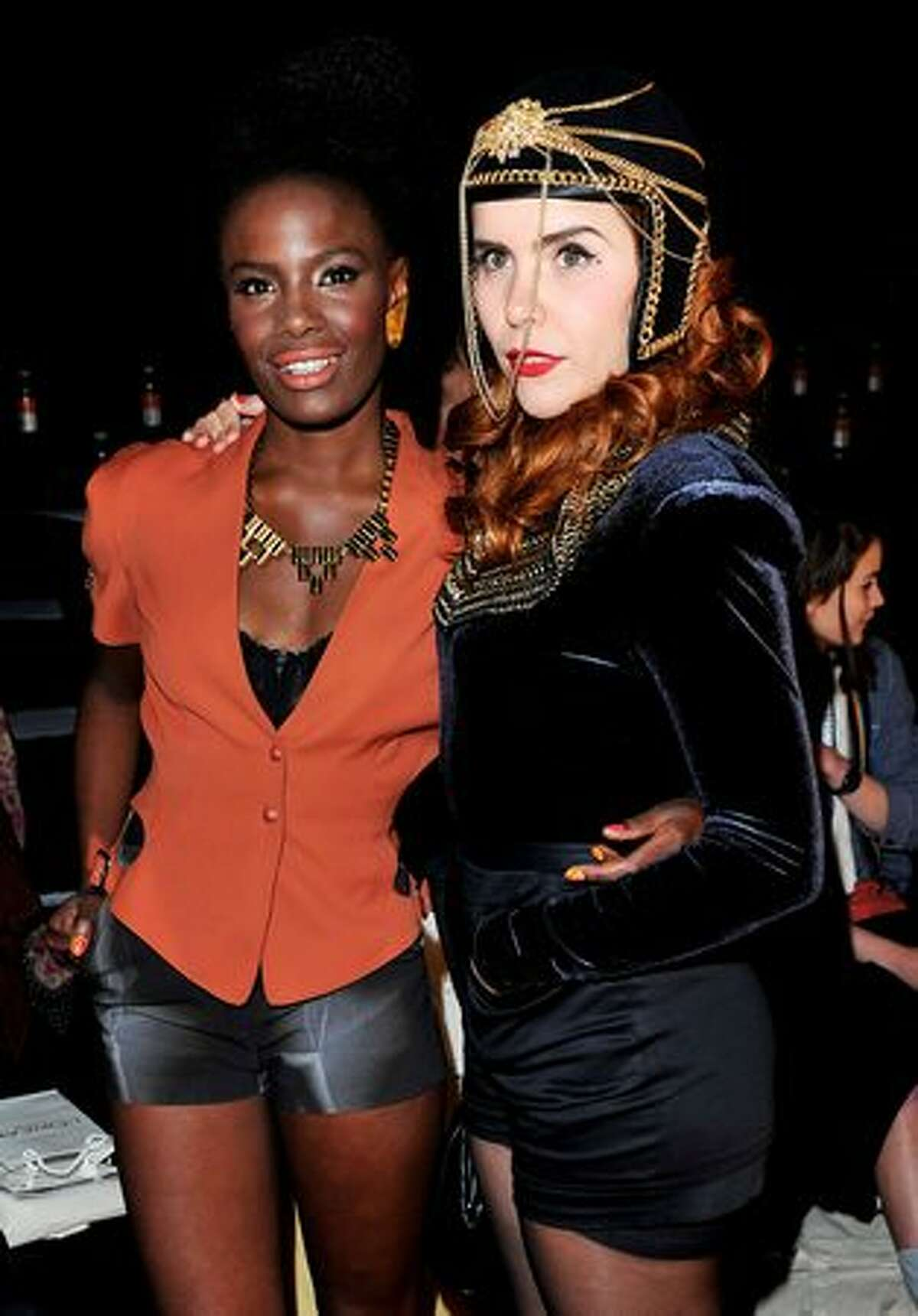 Musicians Shingai Shoniwa (L) and Paloma Faith attend the Felder Felder and Hannah Marshall Spring/Summer 2011 fashion shows during LFW at the Somerset House in London, England.