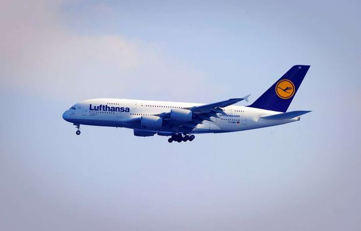 A Lufthansa Airbus 380 performs during the
