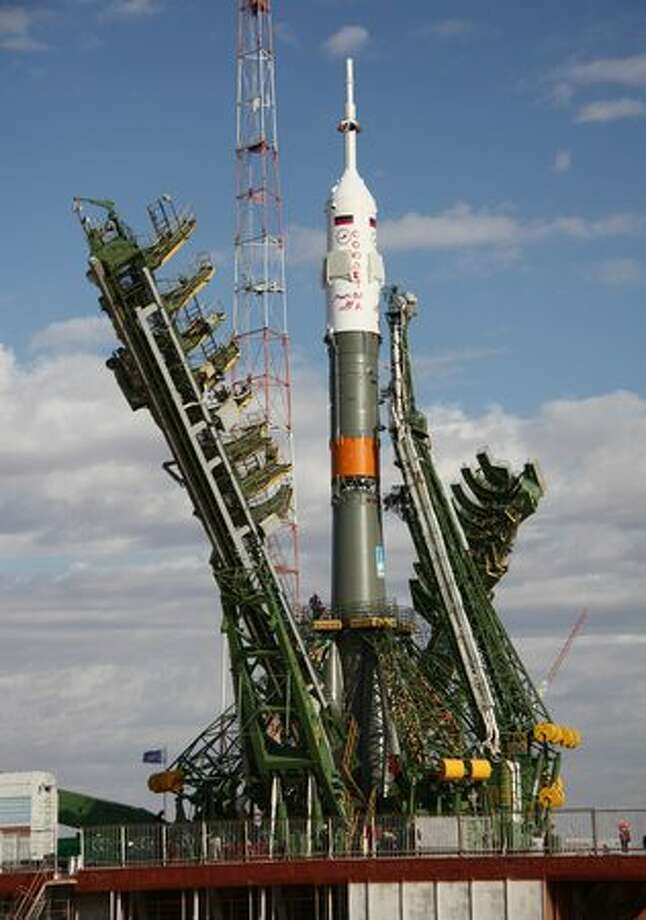 A Soyuz TMA-01M spacecraft is transported from the assembly hangar to its launch pad at the Baikonur cosmodrome in Kazakhstan on October 5, 2010. The Soyuz is scheduled to take off for the International Space Station on October 8. Photo: Getty Images