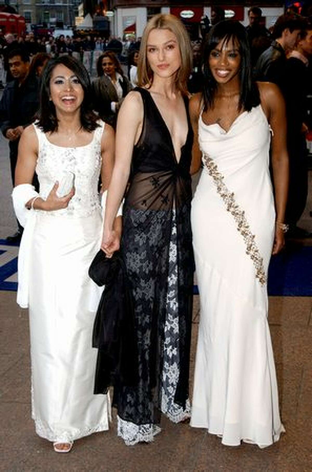 Knightley (center) with her co-stars Parminder Nagra (left) and Shazney Lewis at the premiere of