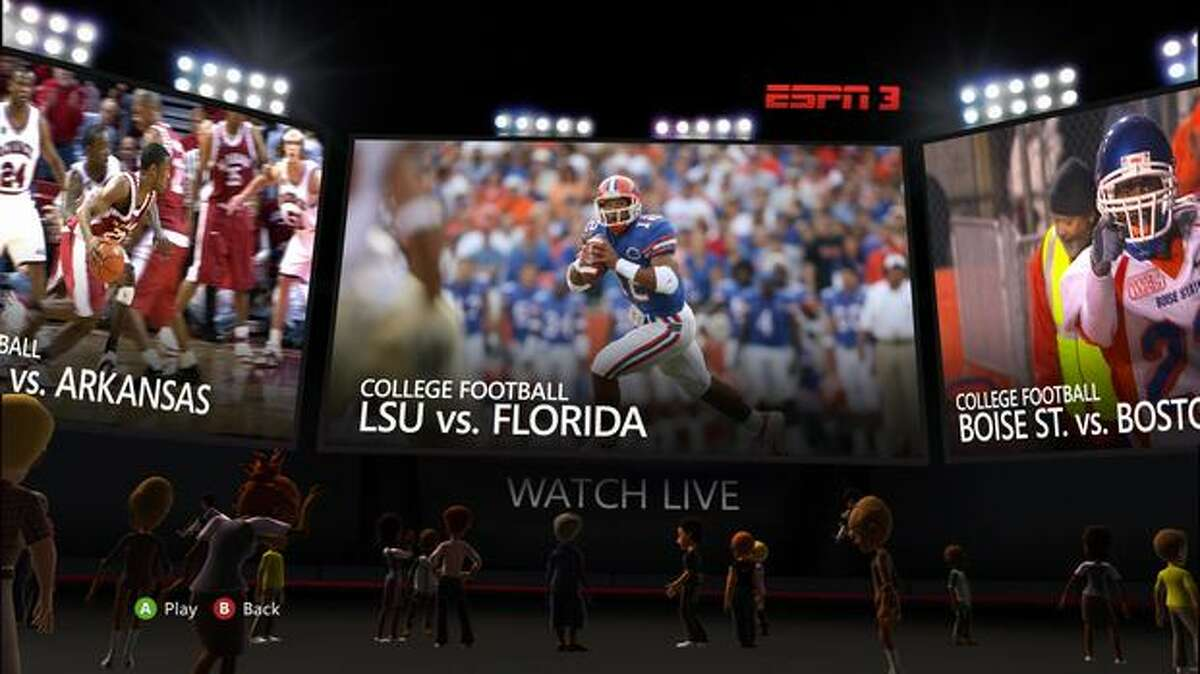 A view of the live-events lobby on ESPN for Xbox Live.