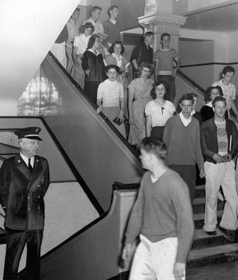 Students at Queen Anne High School, June 1949. Photo: P-I File