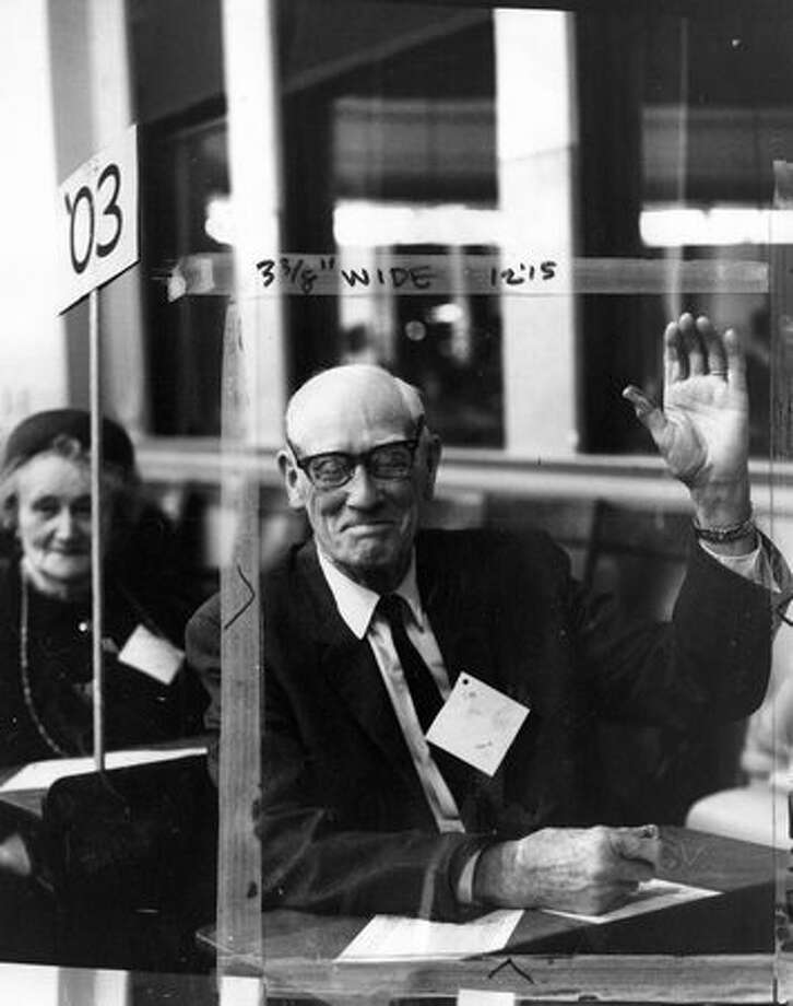 Harry Coe of Broadway High School's class of 1903 at a Feb. 1966 reunion. Marks were made by a former P-I photo editor. Photo: P-I File