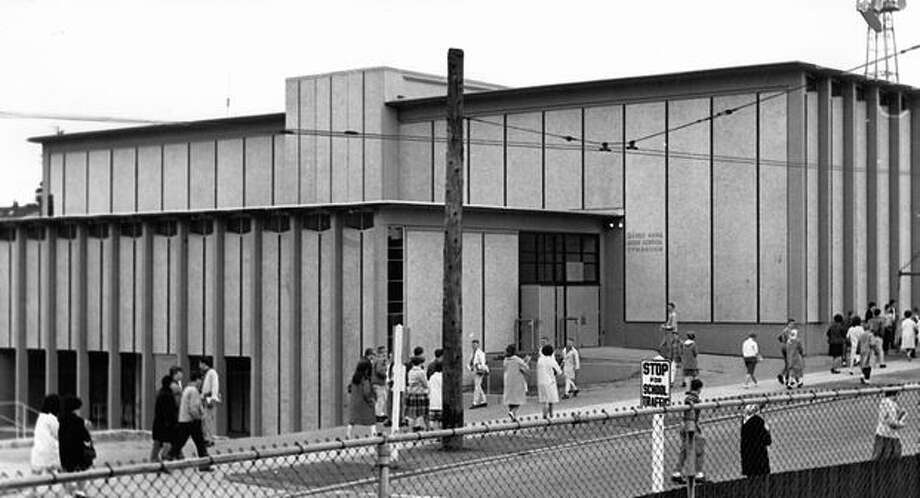 The original photo caption read: Now one of the most modern gymnasiums in Seattle is Queen Anne High School's new $764,709 gym, shown here from the outside. May 1, 1962. Photo: P-I File