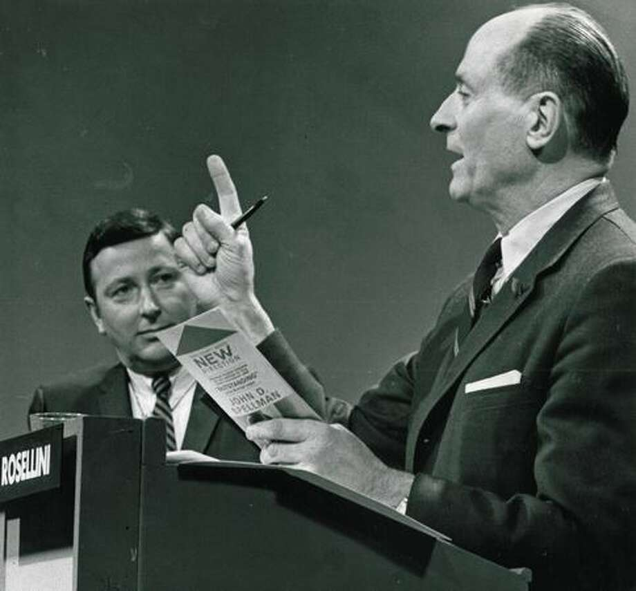 Albert D. Rosellini during a March 1969 debate with John Spellman. Photo: P-I File
