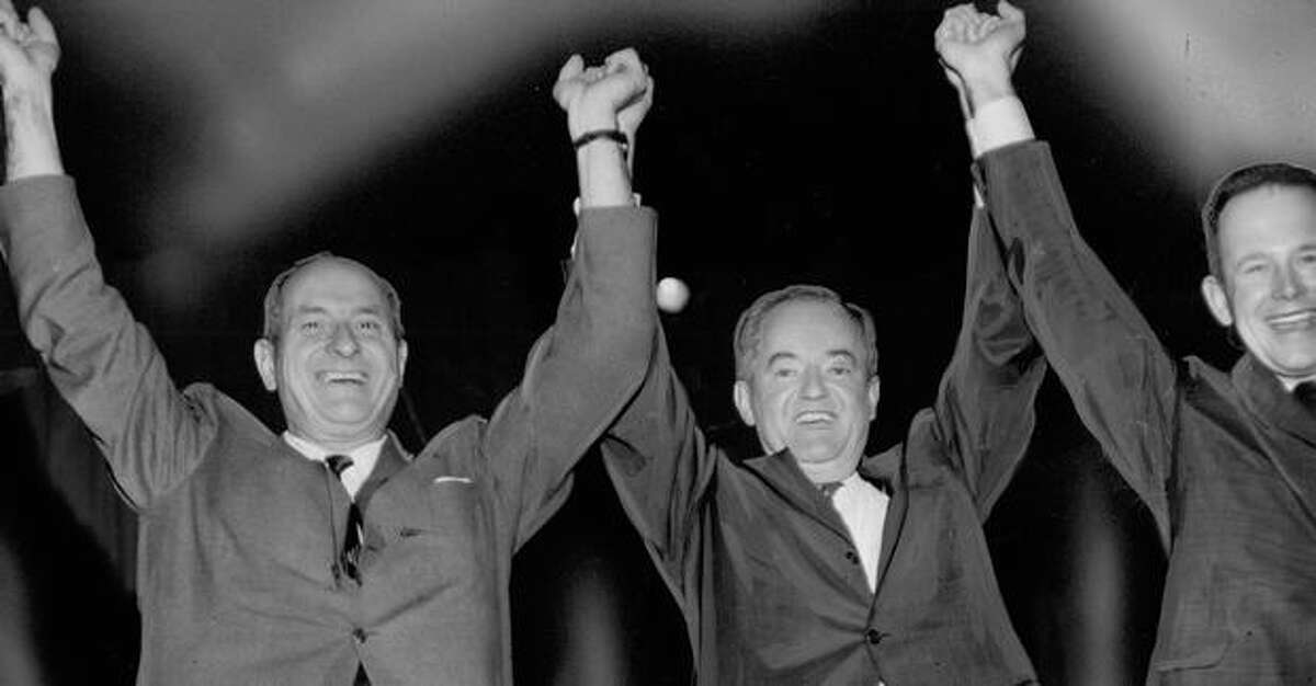 Gov. Al Rosellini, Sen. Hubert Humphrey and Brock Adams, Oct. 31, 1964.