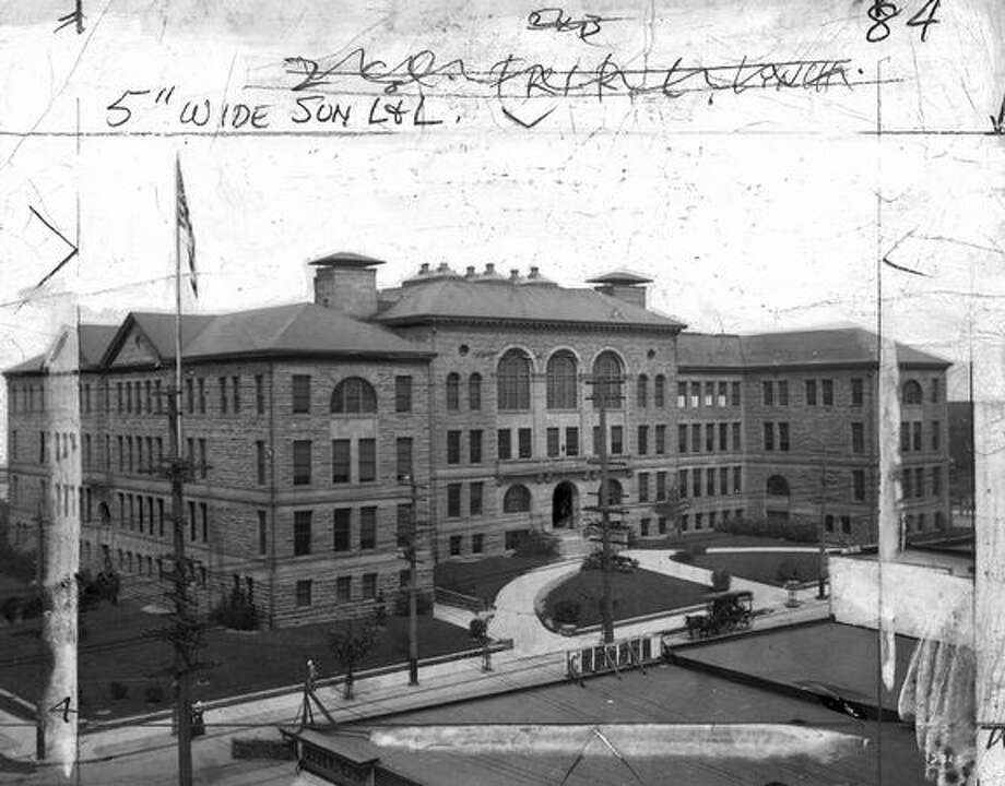 Broadway High School in May 1909. Note the horse-drawn carriage in front. The marks were made by former P-I photo editors when the image ran in the newspaper. Photo: P-I File