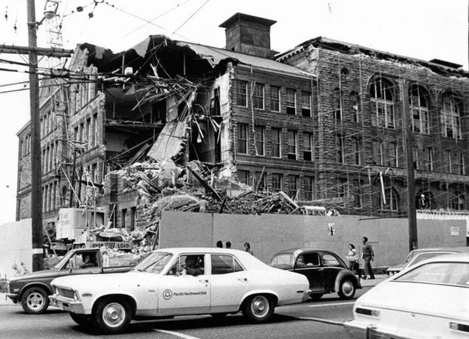 Demolition of the former Broadway High School, August 13, 1974. Photo: P-I File