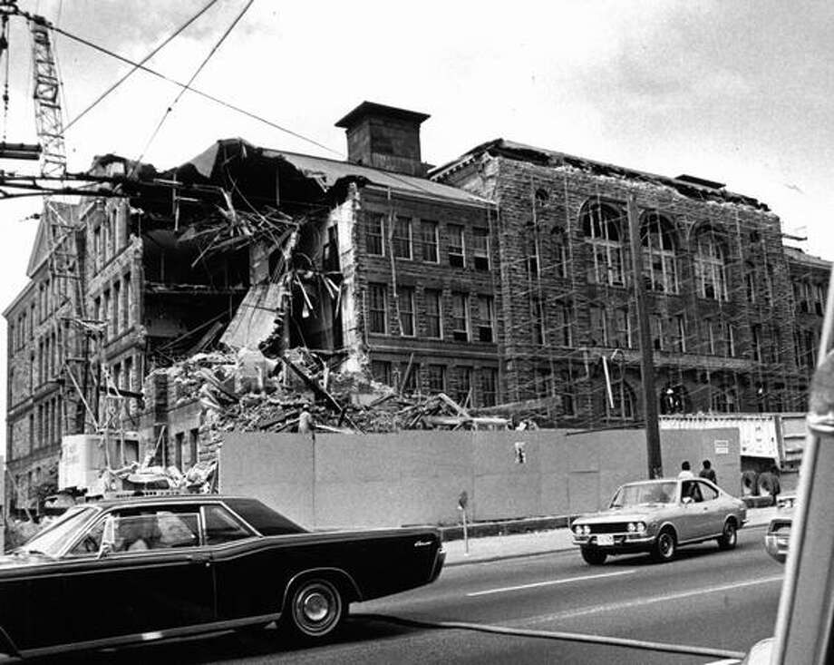 Demolition of Broadway High School, Aug. 12, 1974. Photo: P-I File