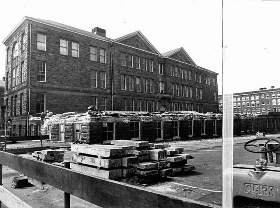 Early demolition of Broadway High School, July 1974. Photo: P-I File