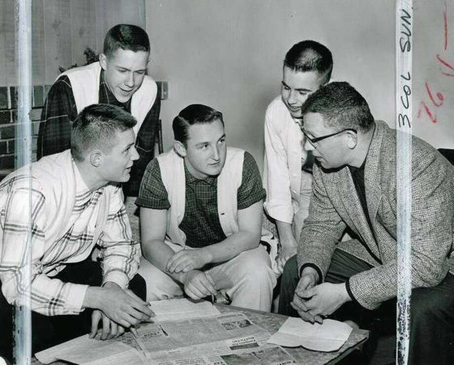 "These Lincoln High students were part of the Seattle P-I series ""Seattle Teen-Agers Speak Up."" The students are, left, to right, Doug Costle, president, George Olstad, vice president, George Guttormsen, Randy Stime and Richard Hays. The advisor is Richard Hays. Marks were made by a former P-I photo editor. Photo: P-I File"