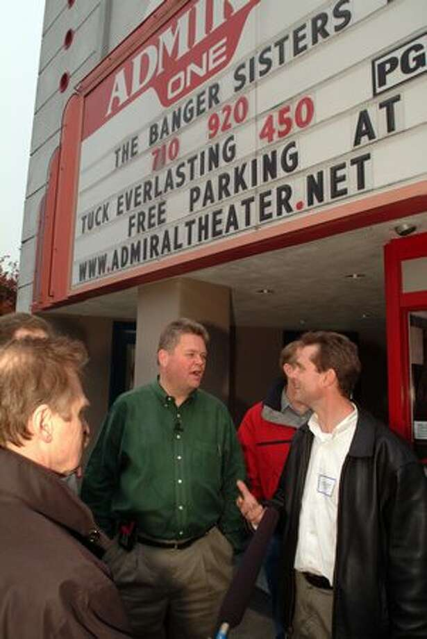 Former Seattle Mayor Greg Nickels at the Admiral Theater in West Seattle, Nov. 22, 2002. (Seattle Municipal Archives) Photo: P-I File