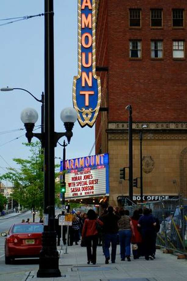 The marquee outside the Paramount Theatre for Norah Jones' performance on April 18, 2010. Photo: P-I File
