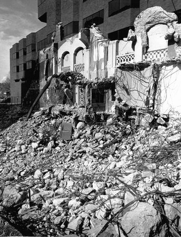 All that remained of the Music Hall Theater on April 2, 1992 was a wall and a pile of rubble. Photo: P-I File
