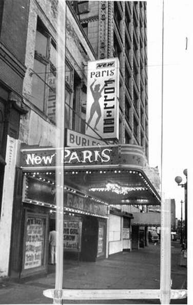 The New Paris Theatre closed on April 18, 1977. [NOTE: Marks were made by a former P-I photo editor.