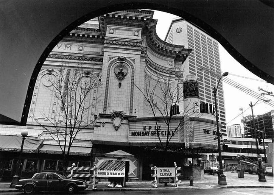 The former Coliseum Theater at 5th Avenue and Pike Street seen from Nordstrom's arch, April 1988. Photo: P-I File