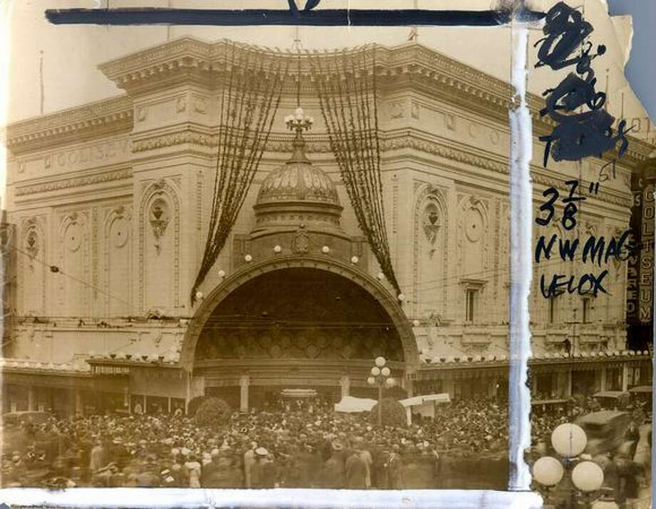 The opening of the Coliseum Theater on Fifth Avenue, 1915. The building is now a Banana Republic store. [NOTE: Marks were made by a former P-I photo editor.] Photo: P-I File