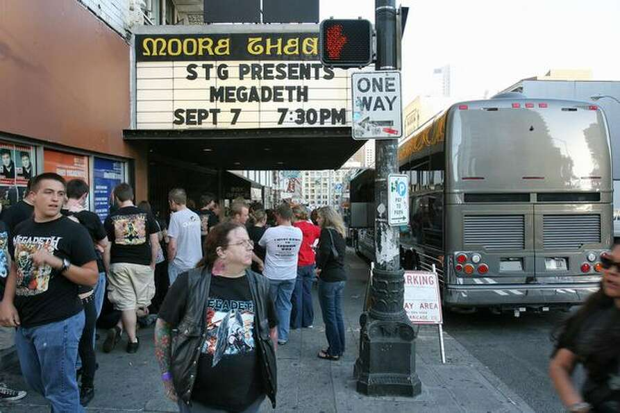Megadeth fans line up for a concert at the Moore Theater in Seattle, Sept. 7, 2007.