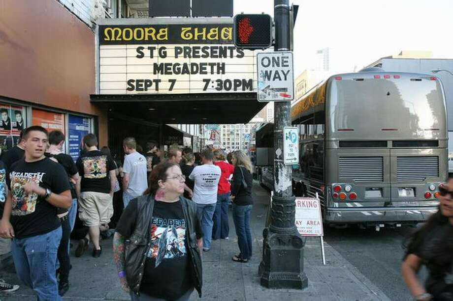 Megadeth fans line up for a concert at the Moore Theater in Seattle, Sept. 7, 2007. Photo: P-I File