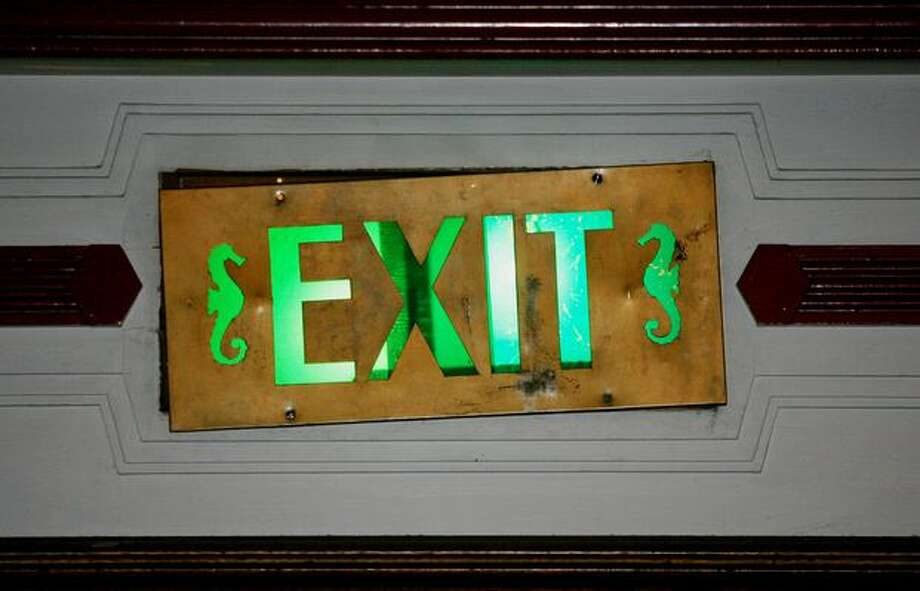 The marine theme of West Seattle's Admiral Theater even included the exit signs. Photo: P-I File