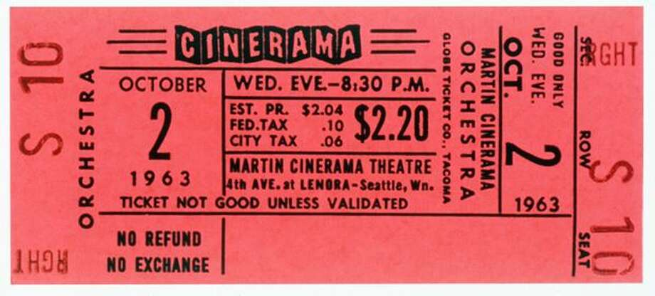 A 1963 ticket stub from the Martin Cinerama Theater in Seattle. Photo: P-I File