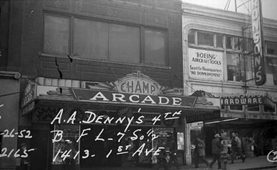The Champ Arcade at 1413 First Avenue, 1952. (Seattle Municipal Archives) Photo: P-I File