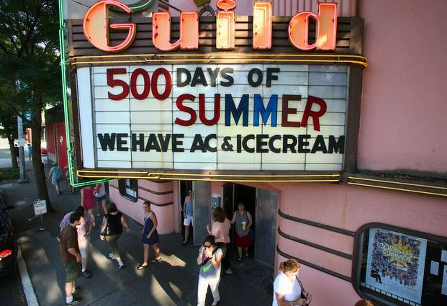 The marquee at the Guild Theater welcomes customers during a record heat wave across Western Washington on July 29, 2009. Photo: P-I File