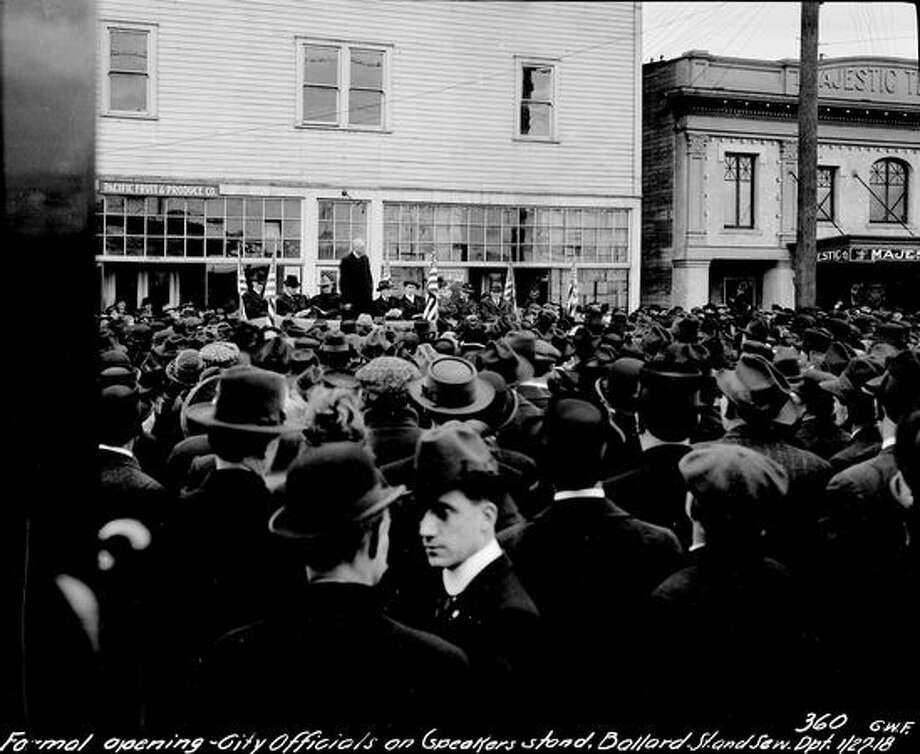The Majestic Theater in Ballard, pictured here Jan. 27, 1918 with a crowd for the opening of a streetcar line. (Seattle Municipal Archives) Photo: P-I File