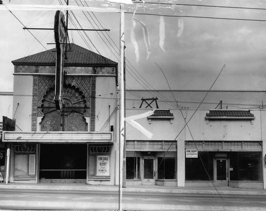 The former Arabian Nights Theater on Aurora Avenue North, July 10, 1956. [NOTE: Marks were made by a former P-I photo editor.] Photo: P-I File