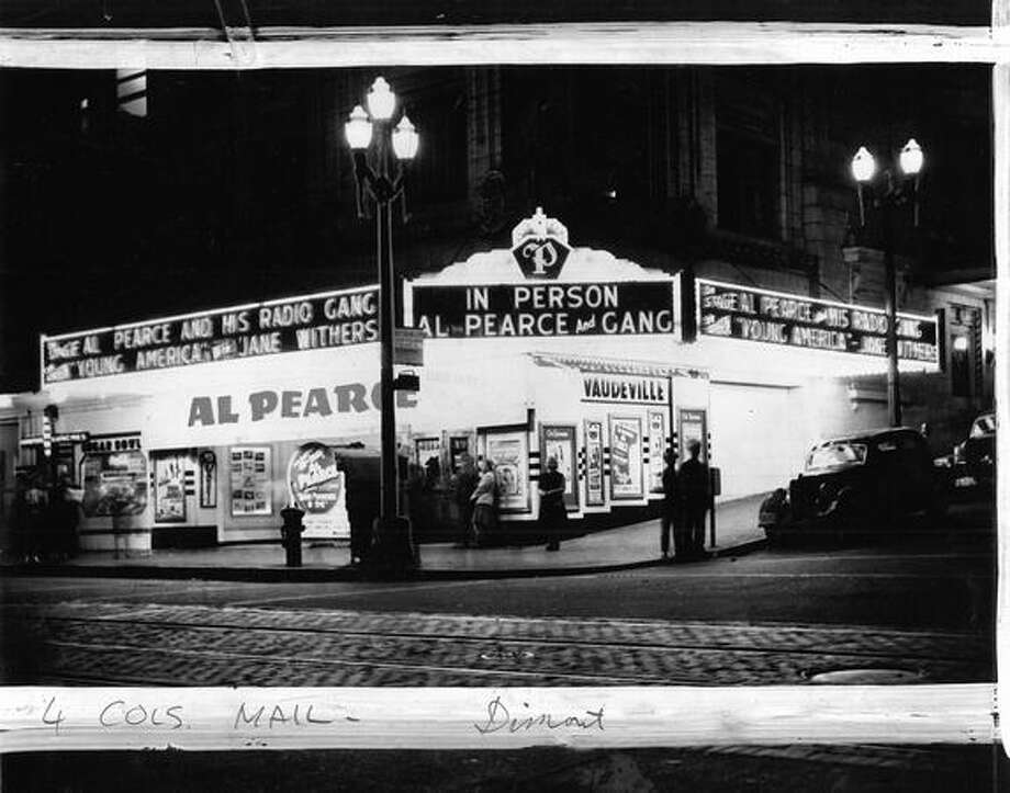 The Palomar Theater on Aug. 20, 1942. [NOTE: Marks were made by a former P-I photo editor.] Photo: P-I File