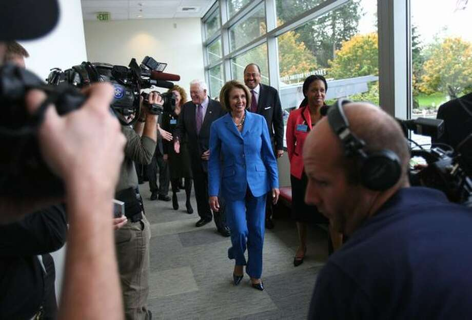 House Speaker Nancy Pelosi prepares to enter Microsoft's Home of the Future on Thursday at the Microsoft campus in Redmond. Photo: Joshua Trujillo, Seattlepi.com