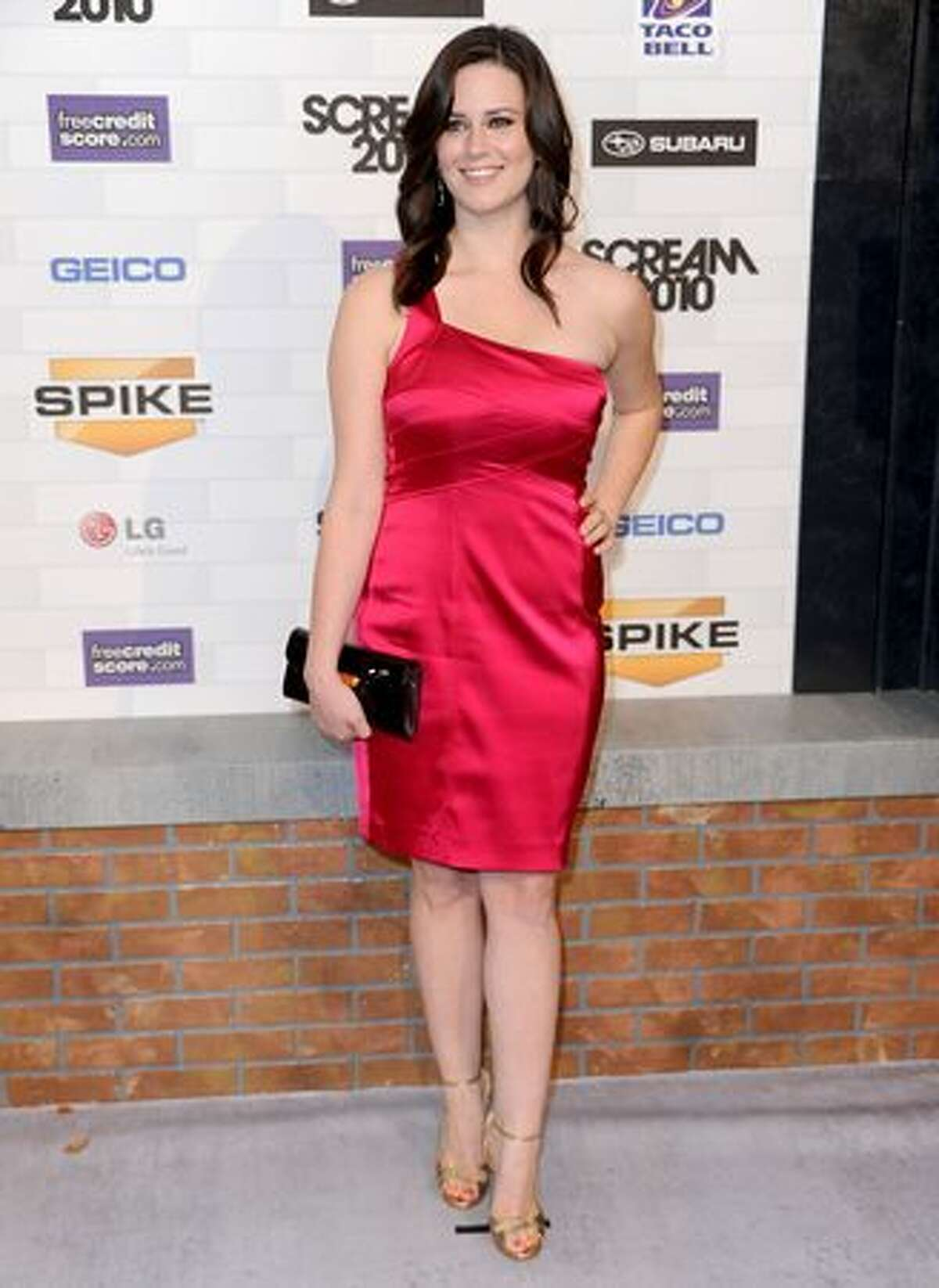 Actress Katie Featherston arrives at Spike TV's
