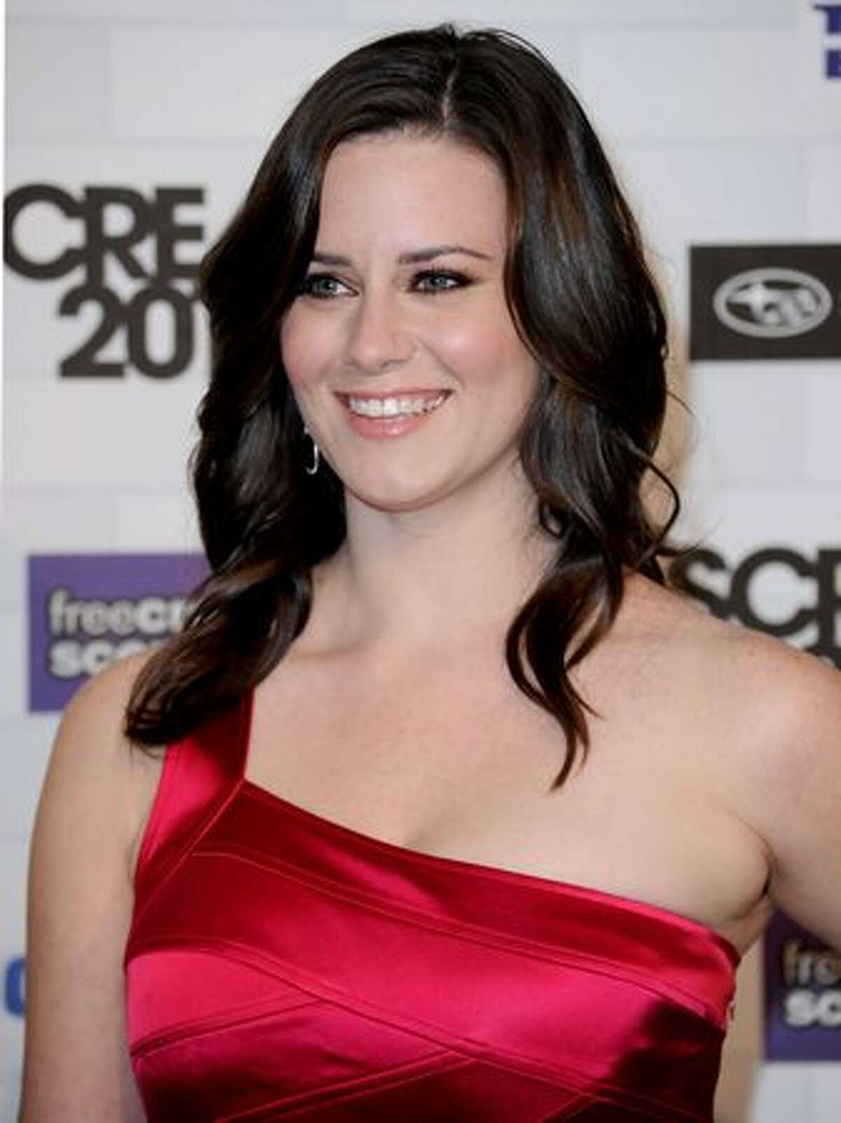 """Actress Katie Featherston arrives at Spike TV's """"Scream 2010"""" at The Greek Theatre on October 16, 2010 in Los Angeles, California."""