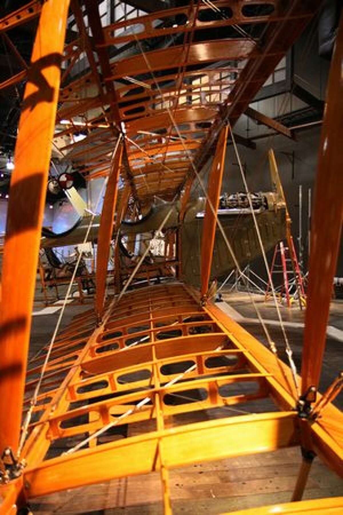 The Seattle Museum of Flight's Curtiss JN-4D Jenny with its wings reattached.