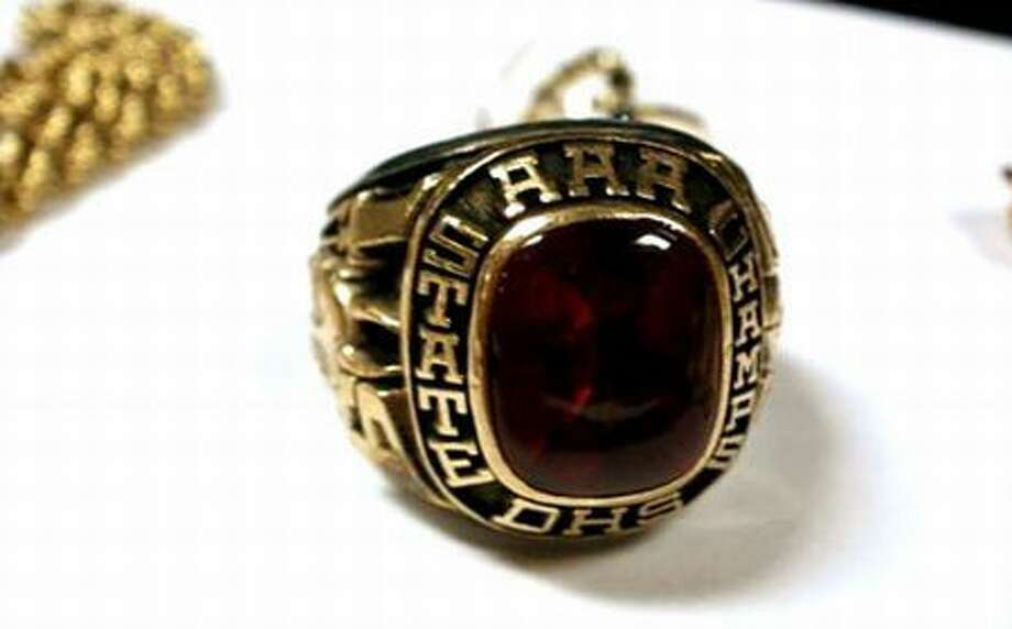 Investigators are trying to identify the owner of this 1977 AAA state football championship ring. (King County Sheriff's Office photo) Photo: P-I File