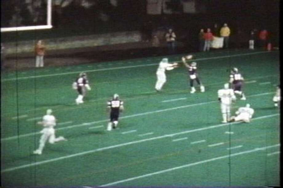 A photo from the four-overtime 1975 Metro League championship game. In this image, Blanchet wide reciever Steve Williams is about to catch what became the winning halfback pass. Read more about the game here. Photo: P-I File