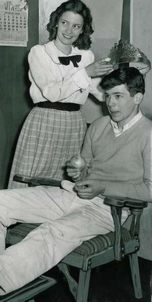 Sally Baldwin and Ted Jones, who was chosen Olot King, March 1948.