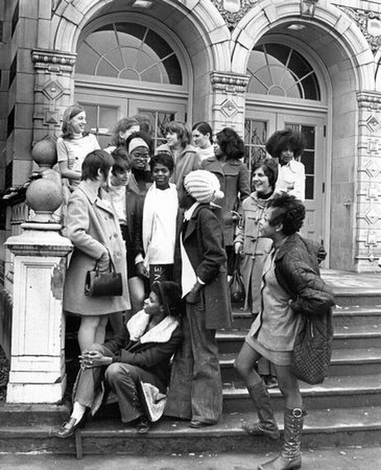 The Jan. 16, 1970 photo caption read: Garfield girls exchanged enthusiasm and girl talk with their guest from Westminster Secondary School in British Columbia. Photo: P-I File
