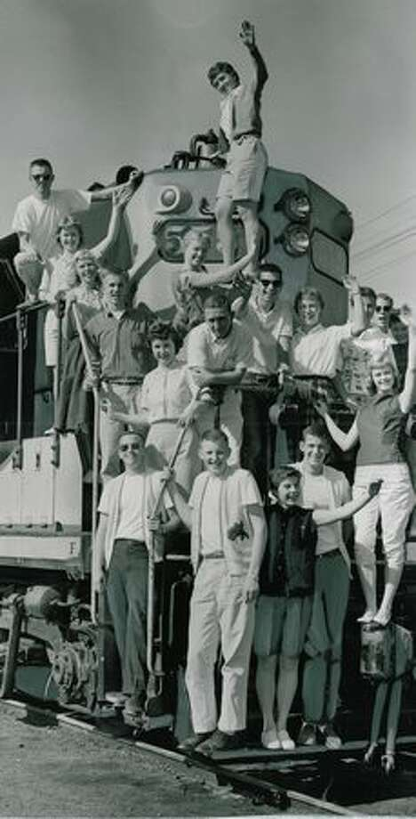 The May 1957 photo caption read: Roosevelt High School seniors get a preview of a train ride the class will take after the traditional class prom June 7. Photo: P-I File