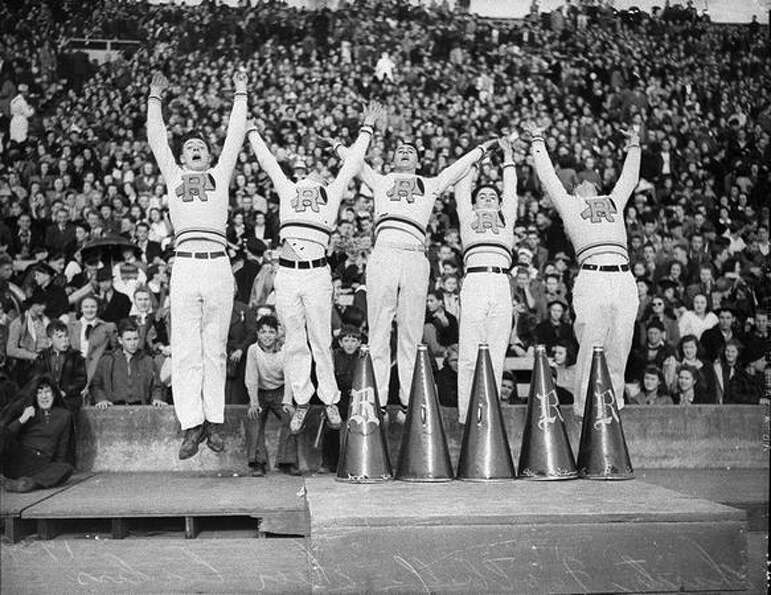 Roosevelt High School cheerleaders at a charity football game, December 1939.