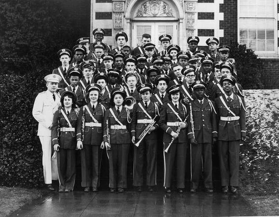 Garfield Military Band in 1948, with jazz legend Quincy Jones. (Original caption did not specify where Jones was standing).   Photo: P-I File