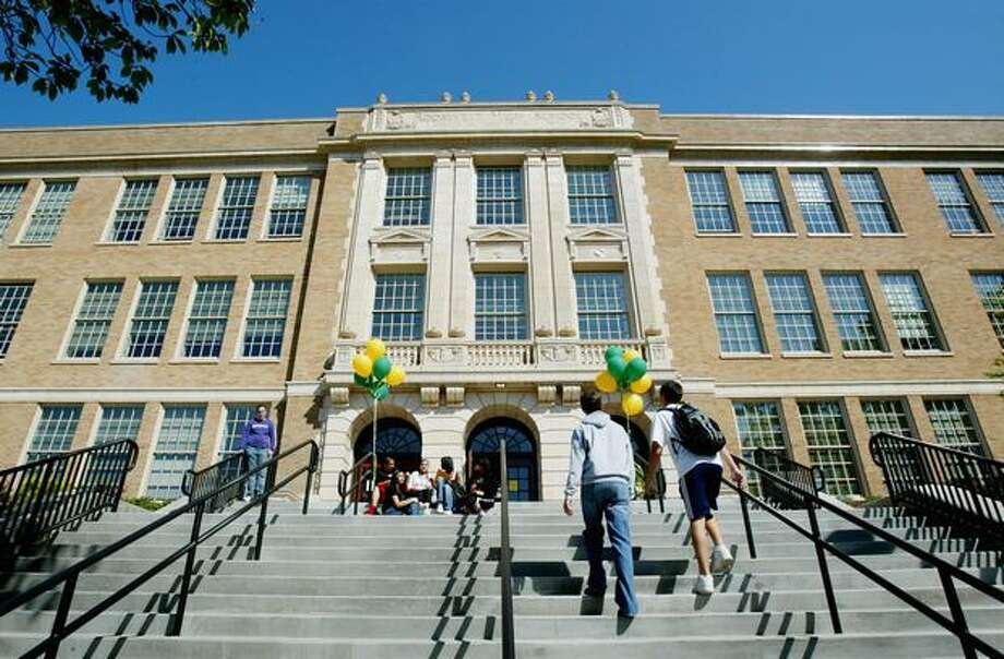 Students outside the newly renovated Roosevelt Hight School, September 2006. Photo: P-I File
