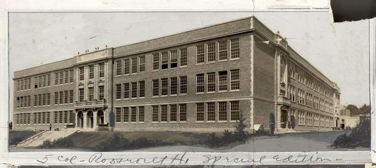 An early, undated photo of Roosevelt High School. Marks were made by a former P-I photo editor.