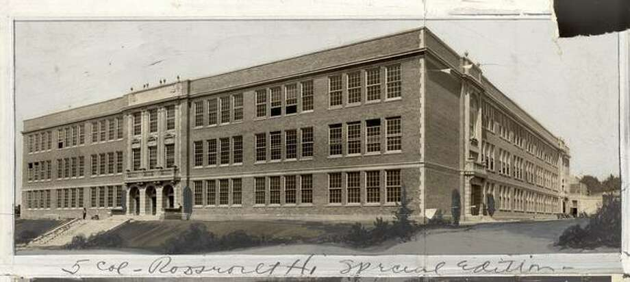 An early, undated photo of Roosevelt High School. Marks were made by a former P-I photo editor. Photo: P-I File