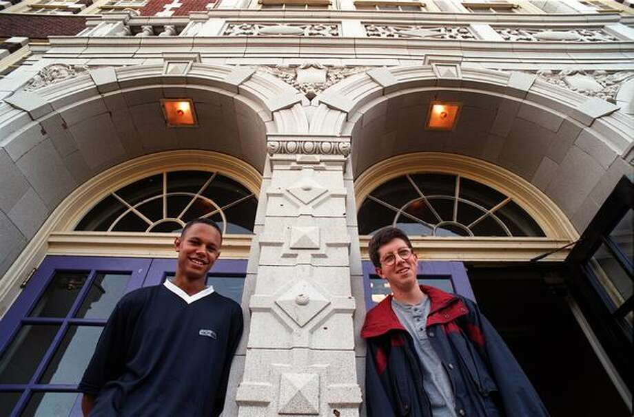 Justin Saint Clair, 17, and Nat Echols, 18, were among Garfield High School's National Merit Scholarship semi-finalists, September 1997. Photo: P-I File