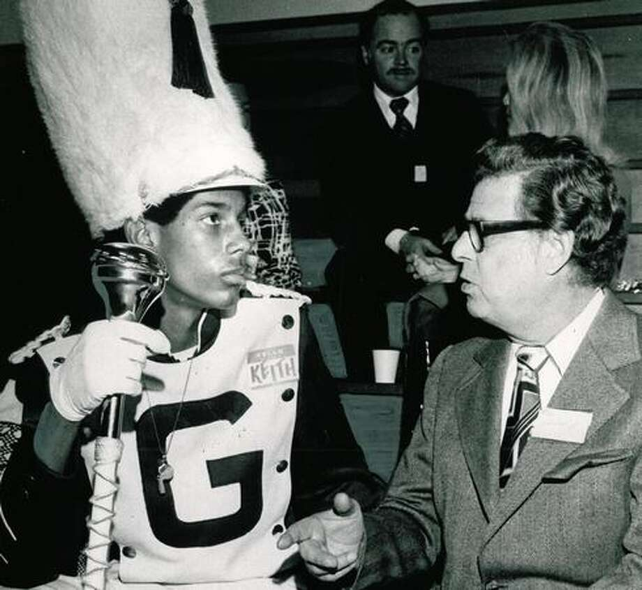 Garfield drum major Keith Harrell and Morrie Alhadeff are pictured in 1971. Photo: P-I File